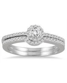 3/8 Carat TW Diamond Halo Bridal Set in 10K White Gold