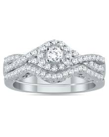 3/4 Carat TW Diamond Twist Halo Bridal Set in 10K White Gold