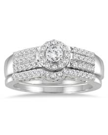 3/4 Carat TW Diamond Halo Bridal Set in 10K White Gold