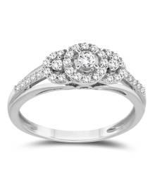 1/3 Carat TW Three Stone Halo Ring in 10K White Gold