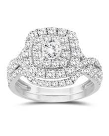 1 5/8 Carat TW Diamond Halo Bridal Set in 10K White Gold