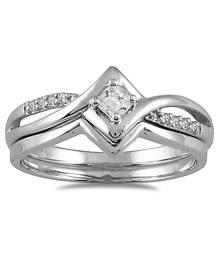 1/6 Carat TW Diamond Bridal Set in 10K White Gold