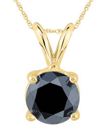 1 1/2 Carat Round Black Diamond Solitaire Pendant in 14K Yellow Gold