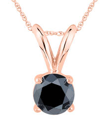 1/2 Carat Round Black Diamond Solitaire Pendant in 14K Rose Gold