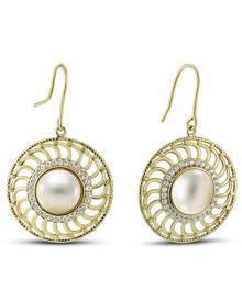 15MM Cultured Pearl Chloe Earrings in Gold Plated Brass
