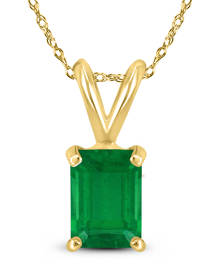 14K Yellow Gold 5x3MM Emerald Shaped Emerald Pendant