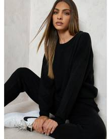 Boohoo Black Knitted Sweater & Jogger Co-Ord