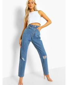 Boohoo Tall Classic High Rise Distressed Mom Jeans- Vintage Blue