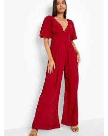 Boohoo Pleated Off The Shoulder Wide Leg Jumpsuit- Red