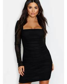boohoo Square Neck Ruched Mesh Bodycon Dress- Black
