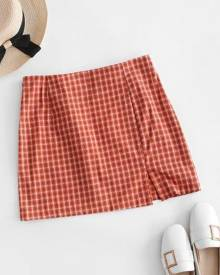 Zaful Side Zipper Plaid Front Slit Mini Skirt