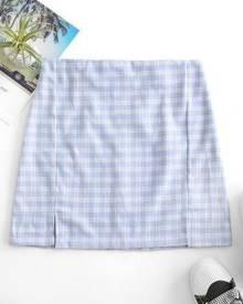 Zaful Back Zipper Plaid Slit Mini Skirt