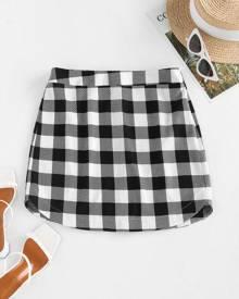 ZAFUL Curved Hem Plaid Mini Skirt