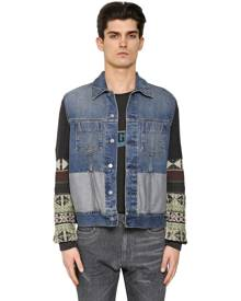 WOOL JACQUARD & COTTON DENIM JACKET