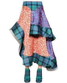 ESTEBAN CORTAZAR Asymmetrical Patchwork Satin Midi Skirt