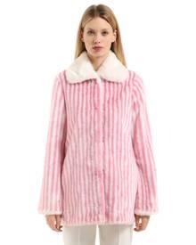 MARCO DE VINCENZO Striped Faux Fur Coat