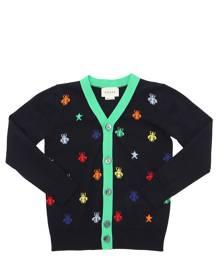GUCCI Fine Wool Intarsia Knitted Cardigan