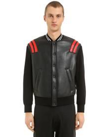 NEIL BARRETT Patch Leather & Neoprene Bomber Jacket
