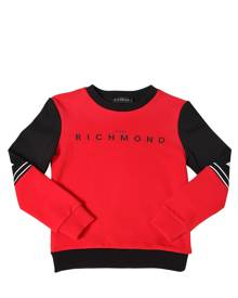 JOHN RICHMOND Two Tone Logo Print Cotton Sweatshirt