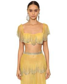 EMBELLISHED & RUFFLED TULLE CROP BUSTIER