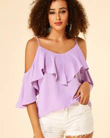 YOINS Purple Spaghetti Strap Cold Shoulder Ruffle Trim Blouse