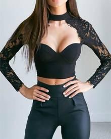 Yoins Black Crochet Lace Embellished Choker Neck Crop Top