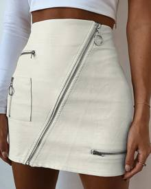 Yoins White PU Leather Zip Design High-Waisted Skirt