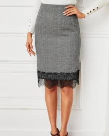 YOINS Grey Lace Patchwork Plaid High-Waisted Skirt