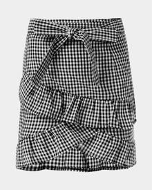 Yoins White Bowknot Lace-up Design Ruffle Trim Plaid Skirt