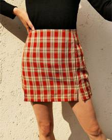 Yoins Red Slit Design Plaid High-Waisted Mini Skirt