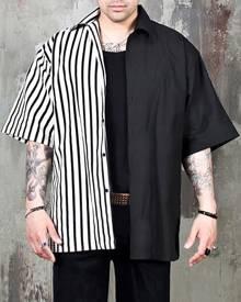 Yoins Men Fashion Black Striped Patchwork Hip-hop Personality Casual Short Sleeve Shirt