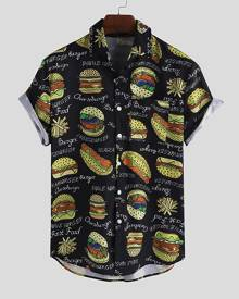 Yoins Men Summer Loose Cartoon Printed Interesting Hamburger Printing Shirt