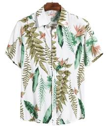 Yoins Men Summer New Leisure Tropical Print Holiday Bohemian Hawaii Style Shirt