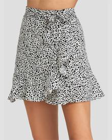 Yoins White Polka Dot Flounced Hem Skirt