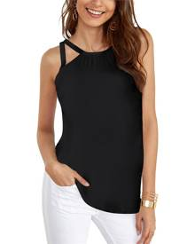 Yoins Black Button Keyhole Design Cut Out V-neck Cami