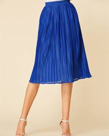 YOINS Blue Pleated Midi Skirt