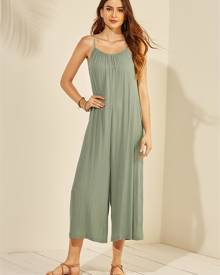 YOINS Green Backless Adjustable Shoulder Straps Sleeveless Jumpsuit