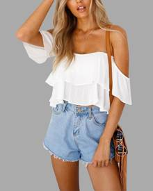 Yoins White Sexy Off Shoulder Backless Crop Top