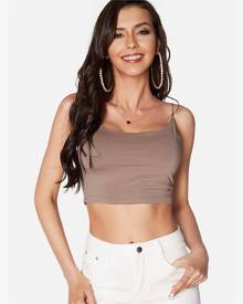 Yoins Brown Sexy Bodycon Crop Top