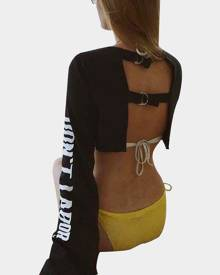 Yoins Black Active Round Neck Cut Out Letter Pattern Backless Design Crop Sweatshirt