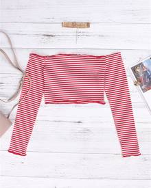 Yoins Red Stripe Off The Shoulder Sexy Crop Top