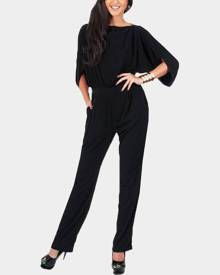 Yoins Black Pleated Details Half Sleeves Jumpsuit