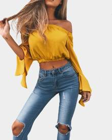 Yoins Yellow Off-The-Shoulder Long Flared Sleeves Crop Top