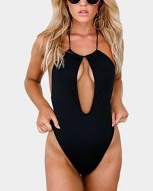 Yoins Black Halter Neck Open Front One-piece Sleeveless Bodysuits