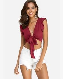 Yoins Red Lace-up Design V-neck Sleeveless Crop Top