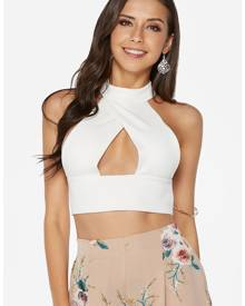 Yoins White Halter Hollow-out Design Backless Crop Top