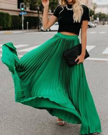 Yoins Pleated Design Chiffon Stretch Waistband Maxi Skirt