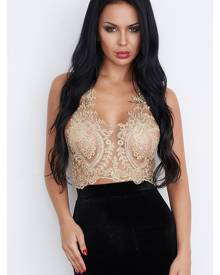 Yoins Gold Sexy Gold Thread Embroidery Hollow Out Lace Crop Top
