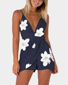 Yoins Navy Deep V-Neck High-waist Random Floral Print Playsuit With Shoulder Straps