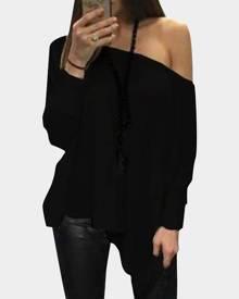 Yoins Black Oversize One Shoulder Long Sleeved Top